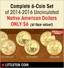 Littleton Coin - 6 Coin Set Native American Dollars 2014-1016