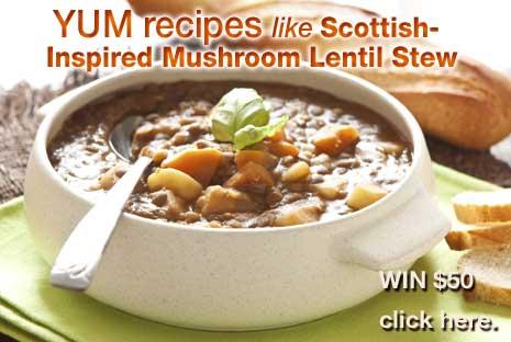 Yum Recipes – Scottish-Inspired Mushroom Lentil Stew